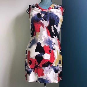 Alfani bold color dress with studded shoulder